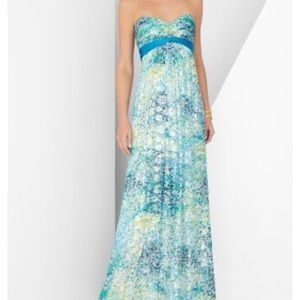 BCBG MAX AZRIA- Long Strapless Printed Gown